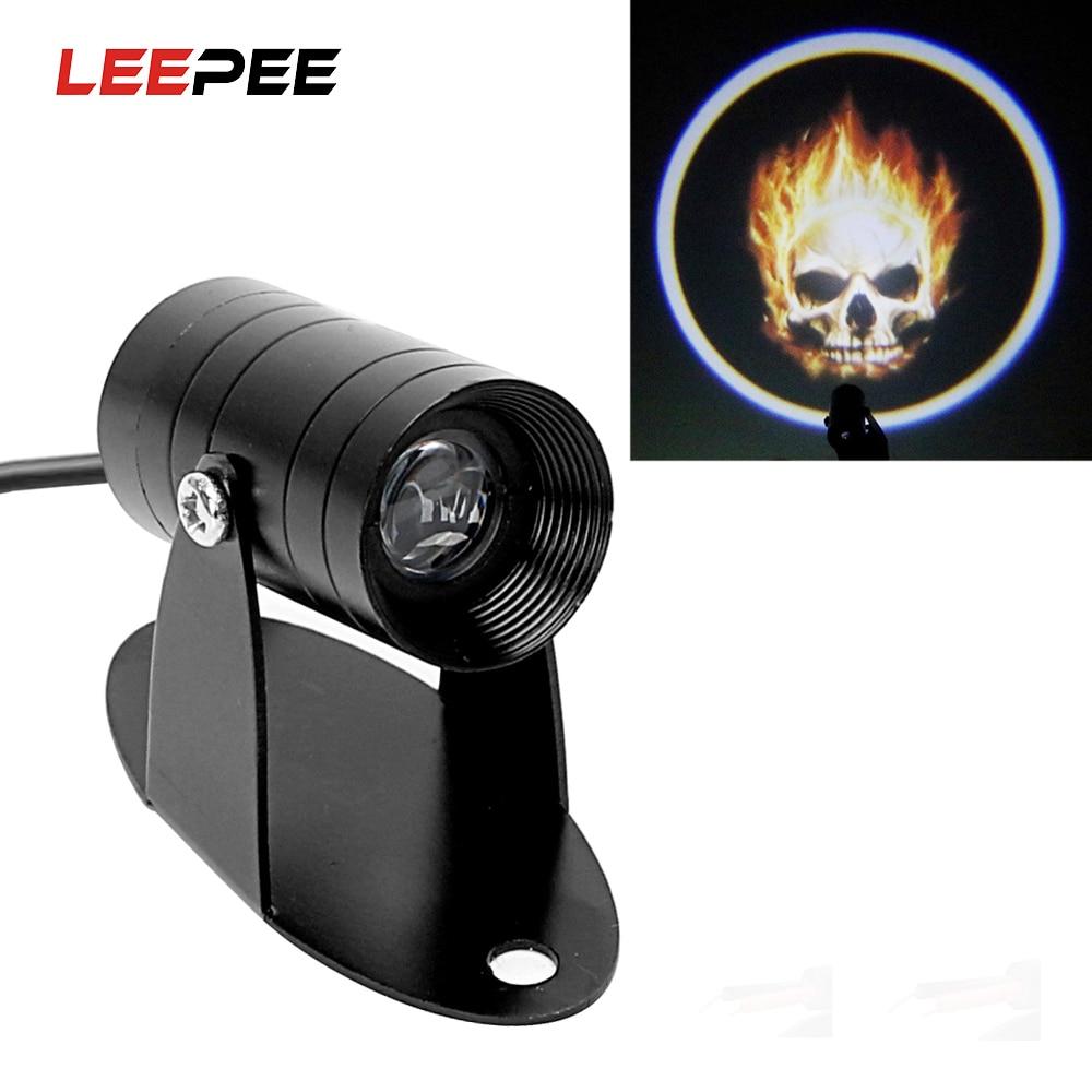 LEEPEE Universal Moto Logo Laser Projector Ghost Rider Flaming Skull Fog Lamp Refit Motorcycle 3D LED Logo Light Tail Lighting