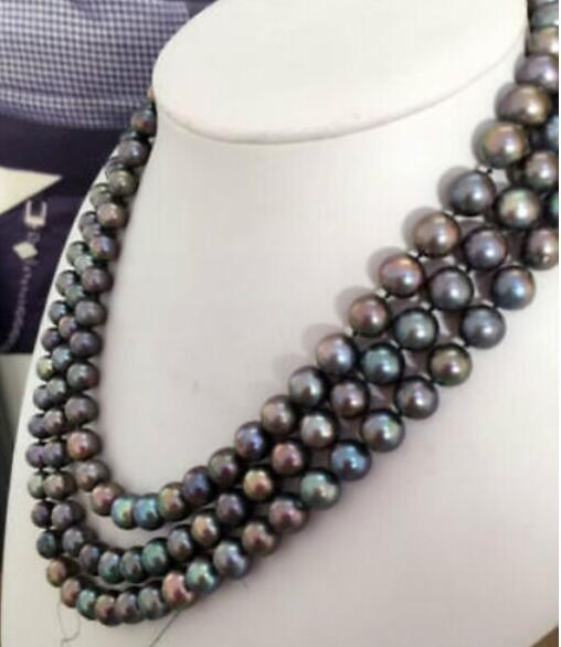 Beautiful 3row 10 mm tahitian tmultcolor pearl necklace17-19yellow claspBeautiful 3row 10 mm tahitian tmultcolor pearl necklace17-19yellow clasp