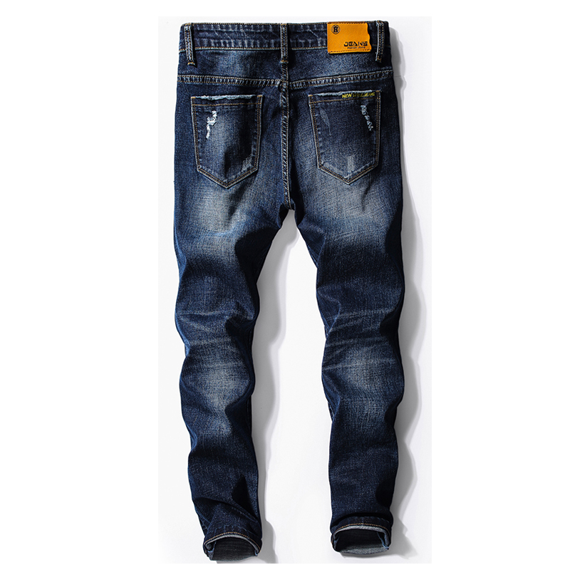 KSTUN Jeans Mens Clothing 2018 Autumn Business Casual Stretch Slim Skinny Broken Pockets Ripped