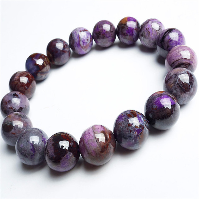 12 5mm Round Crystal Bead Bracelets For Women Stretch Charm South African Natural Purple Sugilite Stone