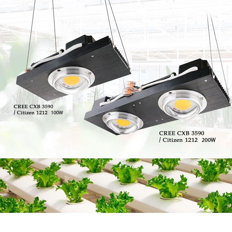 CREE CXB3590 COB LED grandir lumière spectre complet 100 W 200 W citoyen LED plante pousser lampe pour tente intérieure serres hydroponique plante