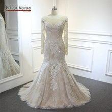 Vestidoเดเฟสต้า2018ใหม่เงือกชุดแต่งงานสีแชมเปญที่มีประดับด้วยลูกปัดดี