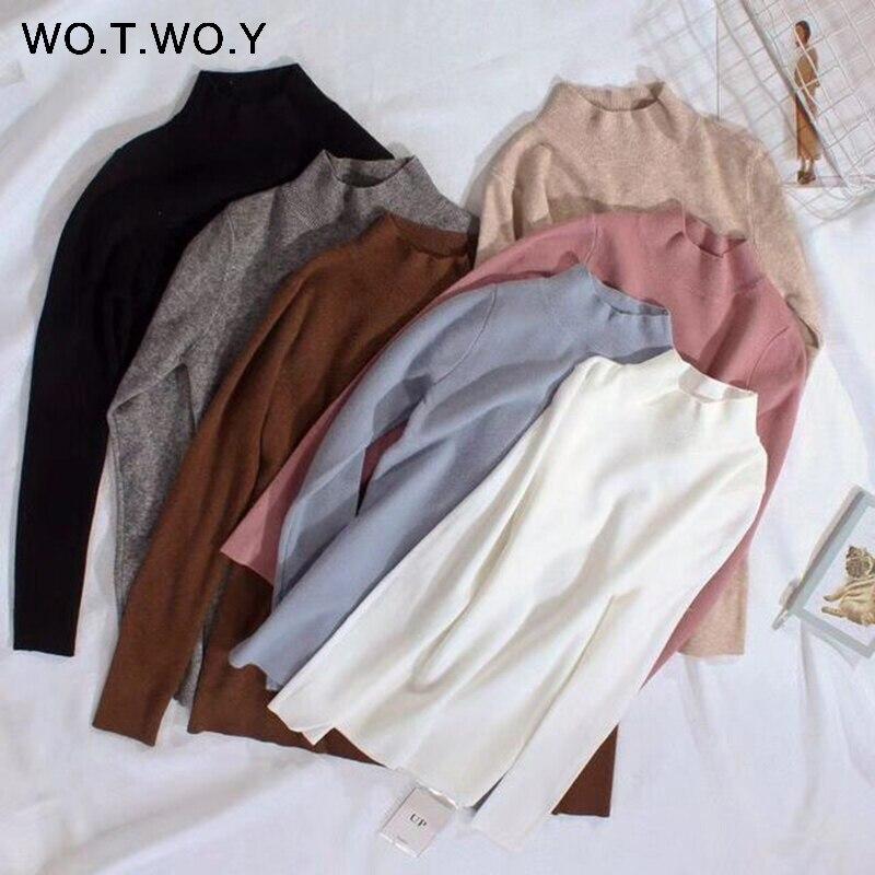 WOTWOY 2018 Cachemira de las mujeres suéter suéteres de cuello alto Otoño Invierno básica estilo coreano Slim Fit negro