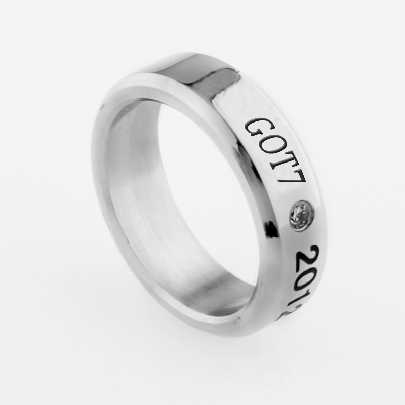 Free Shipping Korea Pop Got7 Rings Women Jackson Mark Bambam Ring With Chain Free C072 Clear-Cut Texture Rings