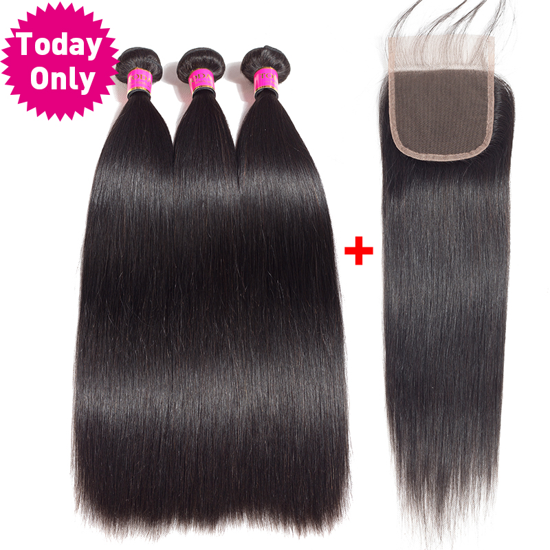 TODAY ONLY Brazilian Hair Weave Bundles With Closure Straight Hair 3 Bundles With Closure Remy Human