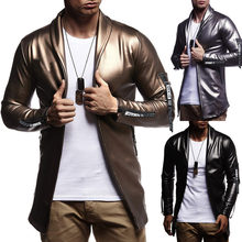 Men's spring autumn new elastic PU leather zipper motorcycle leather jacket suit men's Korean version of the solid color jacket(China)