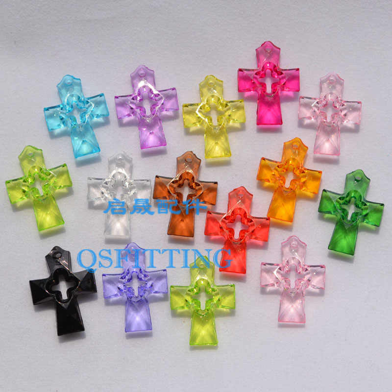 Leveren diy sieraden charms, hanger accessoire, acryl kralen, 23mm acryl hollow cross, mix kleur