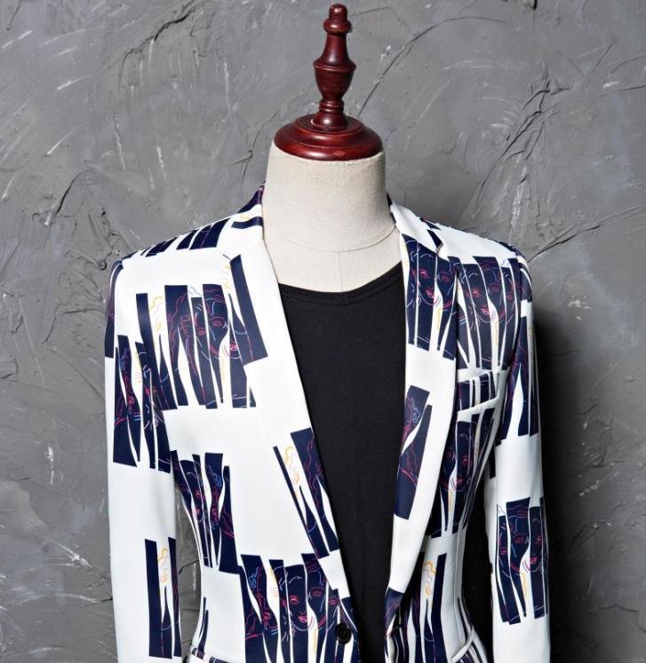 Pour Vêtements Star Mariage Robe Bleu Hommes Danse Costumes Style Chanteur 01 2019 Costume Impression Stade Bandes Marié De Formelle 8dqxnz