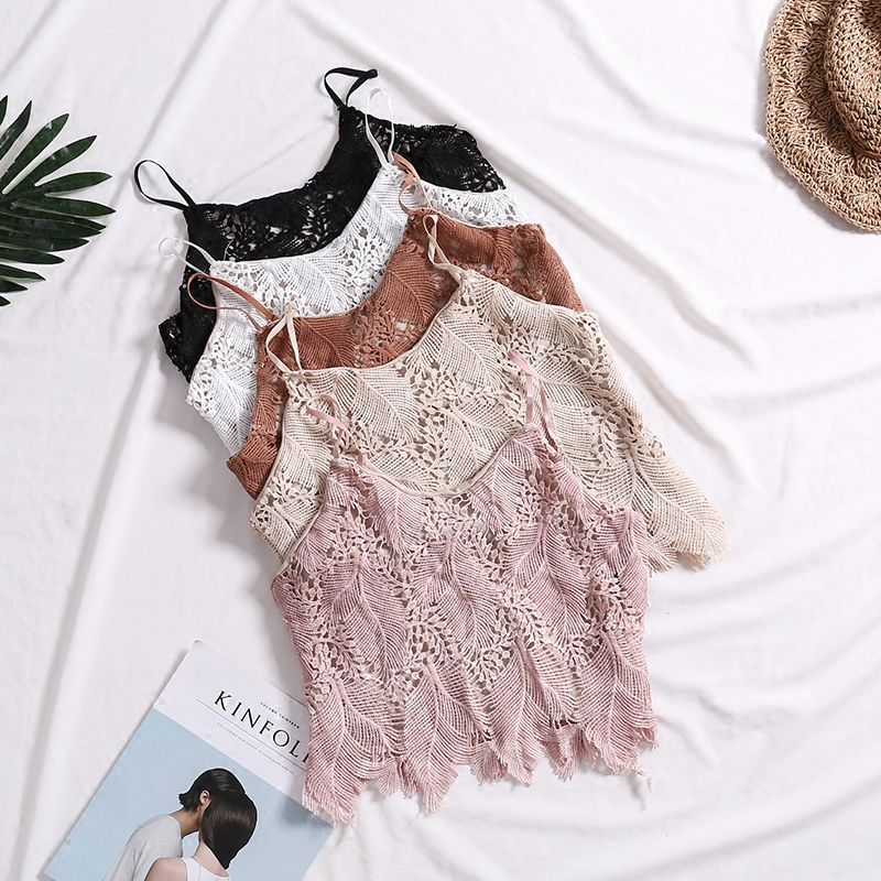 2018 summer new female Water soluble lace hollow sweet crochet vest womens solid color Halter tank top women sling camis