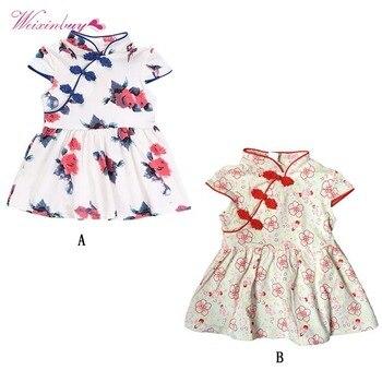 Moda Yaz Bebek Kız Elbise çin Tarzı Cheongsam Elbise Mürekkep Boyama