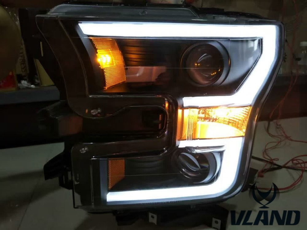 Free shipping vland factory headlamp for Raptor LED Headlight with DRL HID xenon lamp BI projector lens and plug and play design