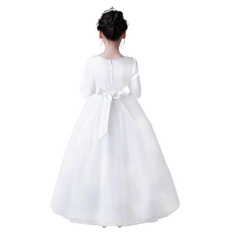 Белые зимние модельные шоу, Длинные бальные платья платье с рукавами для девочек детские подростковые праздничные платья на день рождения