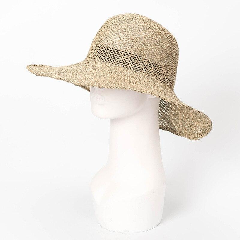 Femmes visière chapeau été crème solaire toit rond gros avant-toit algues chapeau voyage plage parasol large bord chapeau mode elegante casquette
