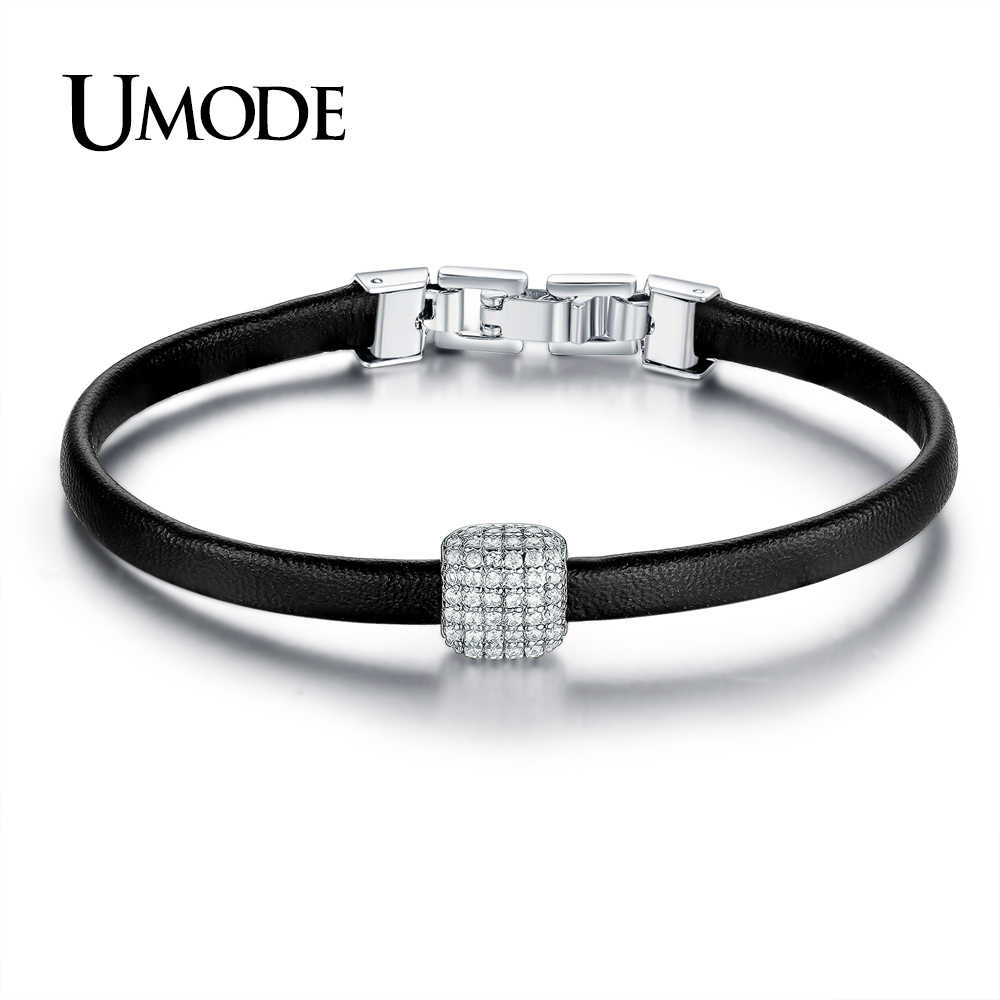 UMODE מותג עיצוב חדש עור קסם צמידי נשים תכשיטים מסיבת אביזרי הניצוץ פייב CZ חרוז צמיד UB0110