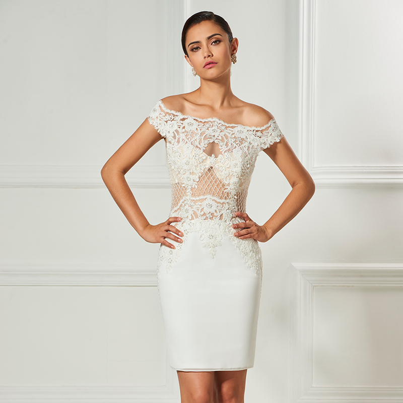 Tanpell strapless   cocktail     dresses   ivory lace beaded knee length sheath   dress   women party office customed short   cocktail     dress