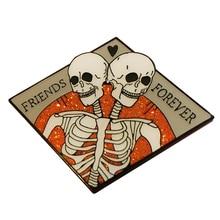 Friends Forever Multiple Variants Spooky Halloween Conjoined Skeleton Enamel Pin