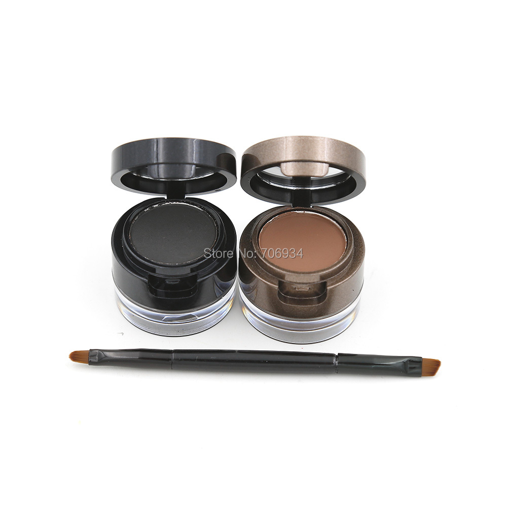 Eyebrow Powder Eyebrows +Eyeliner Gel Long-Wear Gel Eyeliner Brown With Brush Waterproof 1