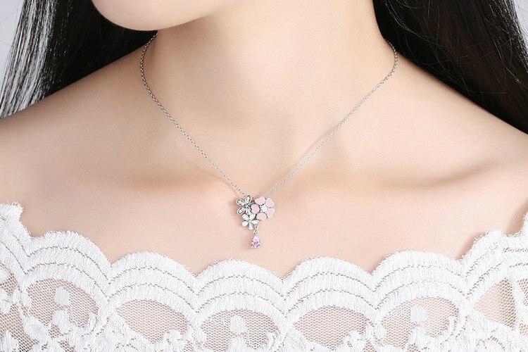 BAMOER Original 925 Sterling Silver Pink Heart Blossom Cherry Flower Pendants & Necklaces Women 45CM Kolye Jewelry SCN046