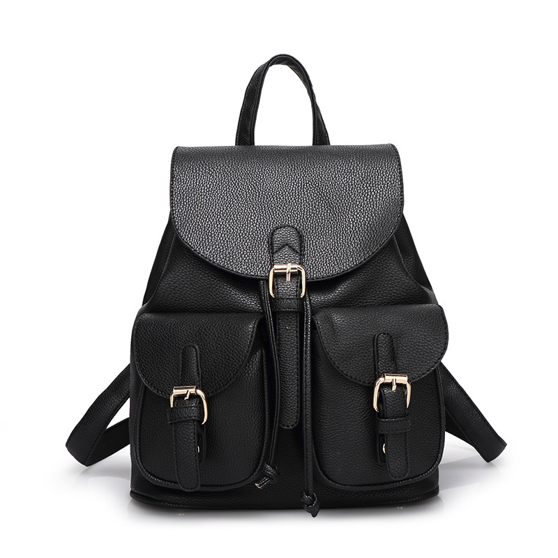 Women Leather Backpack Black Bolsas Mochila Feminina Large Girl Schoolbag Travel Bag Solid Candy Color Pink Beige  new women leather backpack black bolsas mochila feminina girl schoolbag travel bag solid candy color green pink beige