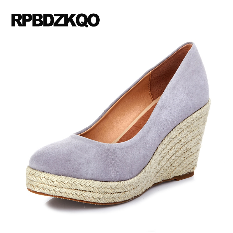 Ladies Genuine Leather Luxury Brand Women Shoes 2017 High Quality Espadrilles Suede Platform Plus Size Heels Gray Round Toe new 2017 spring summer women shoes pointed toe high quality brand fashion womens flats ladies plus size 41 sweet flock t179