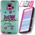 Cute owl case para samsung galaxy s4 s5 note 4 5 Hybrid Hard & Silicone Nota4 Teléfono Casos w/Protector de Pantalla de Cine Stylus