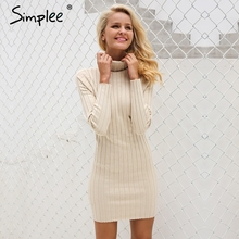 Simplee Casual turtleneck long knitted sweater dress women Cotton slim bodycon dress pullover female Autumn winter dress 2017