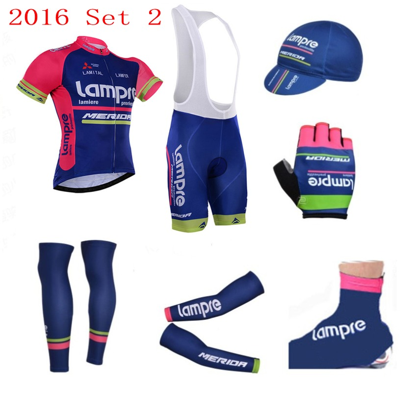 7pcs full set pro Team lampre merida cycling jersey summer Short sleeve bike clothing MTB Ropa Ciclismo Bicycle maillot GEL spring autumn 2017 pro team ag2r cycling jerseys long sleeve bike clothing mtb ropa ciclismo bicycle maillot jersey gel pad