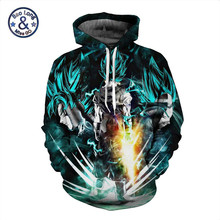5XL Anime Dragon Ball Z DBZ Pocket Hooded Sweatshirts 3D Super Saiyan Hero Vegeta Hoodies Pullovers Harajuku Men Women Outerwear