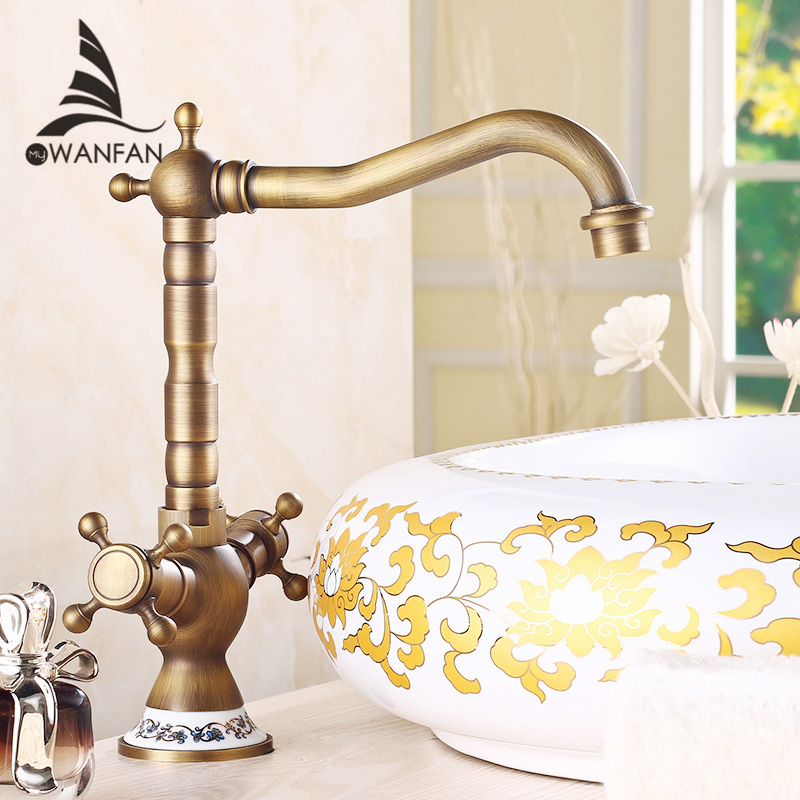 Basin Faucets Antique Bronze Brass Bathroom Sink Faucet 360 Degree Swivel Dual Handle Kitchen Washbasin Mixer Taps WC Cock H-15 2 hole deck mounted 360 swivel spout bathroom basin faucet antique brass dual cross handles kitchen sink mixer taps wnf036