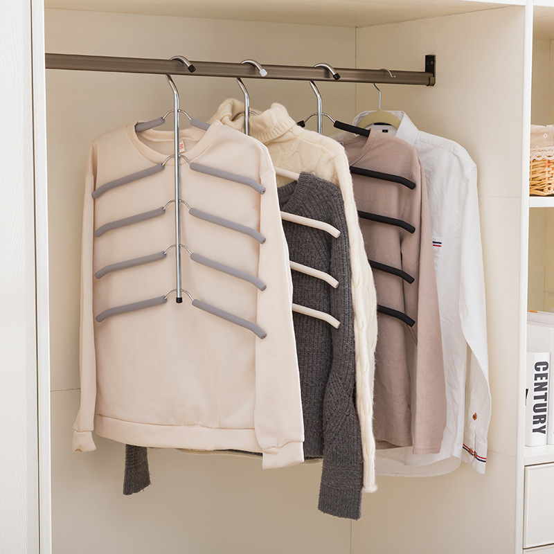 Multilayer Fish Bone Shape Stainless Steel Clothing Storage Racks Clothes Hanger Storage Holder Wardrobe Laundry Drying Rack