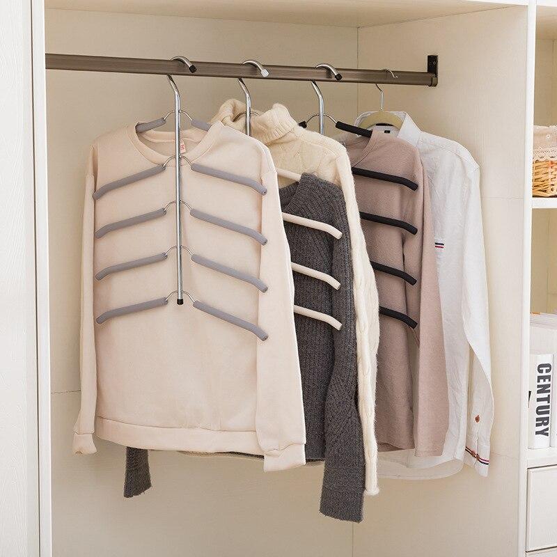 Multicapa de hueso de pescado de acero inoxidable de la forma de almacenamiento de ropa bastidores percha de ropa de almacenamiento de titular armario lavandería secado Rack