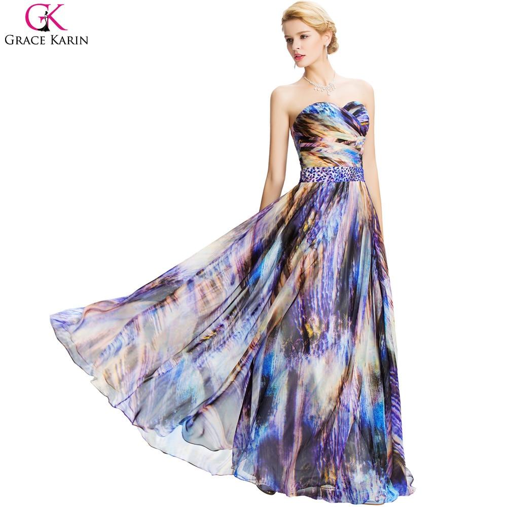 Grace Karin 2017 Floral Print Long Chiffon Evening Dresses Sexy