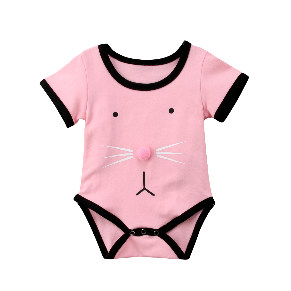 Glorious 2018 Toddler Baby Girls Short Sleeves Pink Jumpsuit Bodysuit Clothes Rabbit Ear Cute Summer Cotton Outfits Bodysuits Girls' Baby Clothing