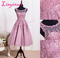 2018 New Crew Neck Lace Knee Length Cocktail Dresses Organza Lace Applique Beaded Short Party Homecoming Evening Gowns