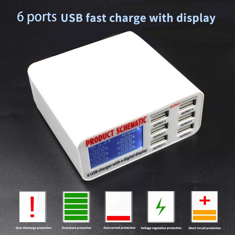 Led Display Quick Charge 3.0 Smart USB Charger HUB (1)