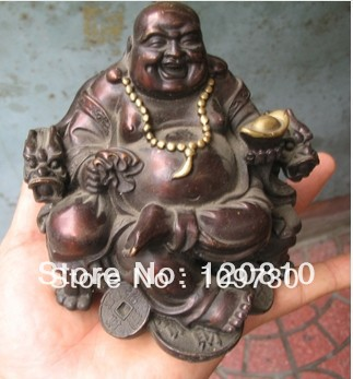00350 Collections Buddhism Classic Good Luck Wealth Bronze Buddha Statue