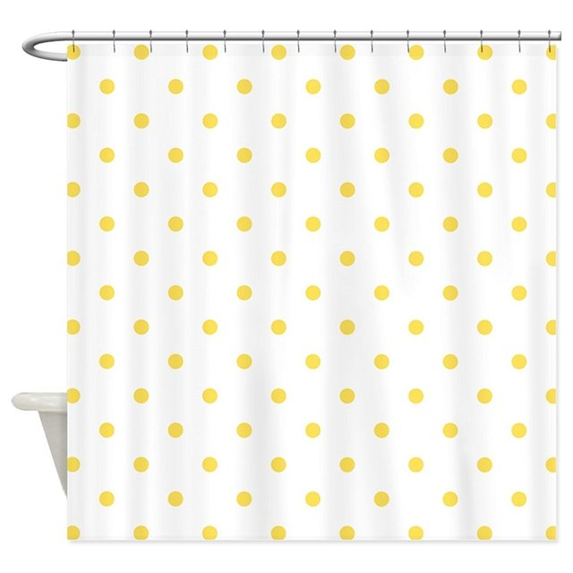 Memory Home White Canary Yellow Polka Dots Polyester Waterproof Fabric Shower Curtain For Bathroom 70