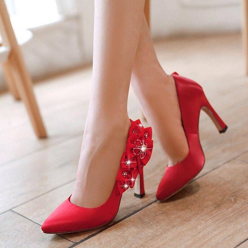 ФОТО White/Black/Red Lace Satin Flowers Women Wedding Shoes High Heels Slip On Bridal Shoes Plus Size EU34-43 6128