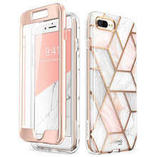 For iPhone 7 Plus / 8 Plus Case 5.5 inch i Blason Cosmo Full Body Marble Pink Bumper Case Cover with Built in Screen Protector
