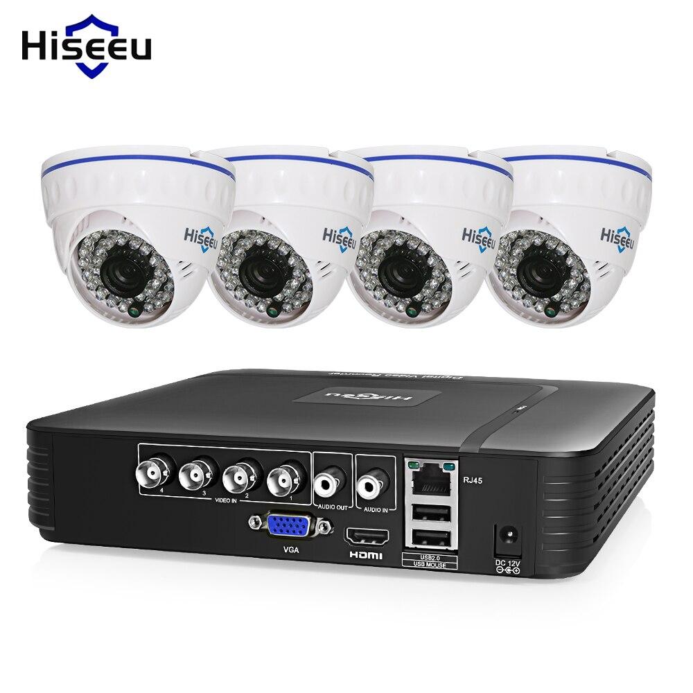 Hiseeu CCTV Камера Системы 720 P/1080 P AHD DVR комплект 4 канала купола безопасности Камера s de seguridad ИК День/Ночь HD видео 1 ТБ HDD