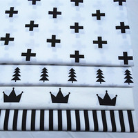 1 Meter 100 Cotton Twill Fabric For Bedding Children Cloth Handmade DIY White Black Style Crown