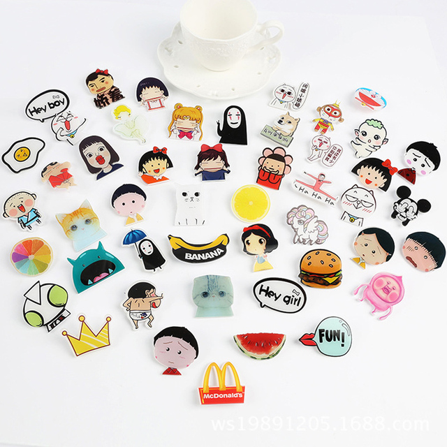 954629843 5pcs/lot Funny Cartoon Set Brooches Cool brooches pins for women men fashion  animate printed badge Scarf Clip jewelry #JO004