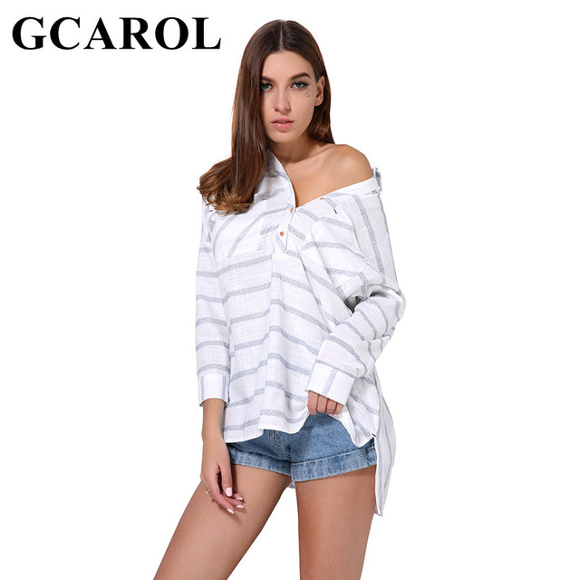 GCAROL 2019 New Prairie Chic Style Women Striped Oversize Blouse Two Pockets Fashion Casual Asymmetric Tops OL Long Shirt