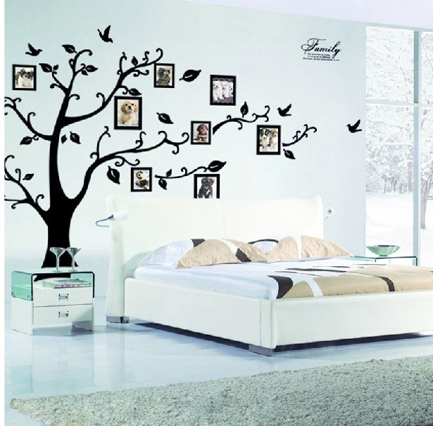 Family Photo Frame Flying Birds Tree Wall Stickers Arts Home Decorations  Living Room Bedroom Decals Posters