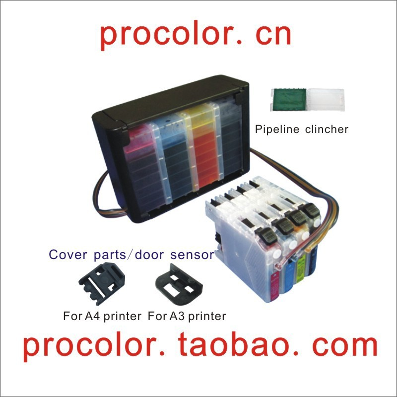 PROCOLOR Continuous Ink Supply System CISS(With cover parts) for BROTHER LC450(MFC-J5910DW CISS,MFC-J6710DW CISS,MFC-J6910DW lc73 lc79 lc75 lc1240 lc1280 refillable cartridge for brother dcp j6510dw j6710dw j6910dw