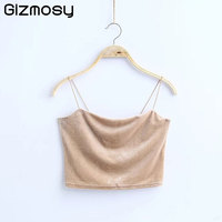 Crop Top 2018 Sexy Spaghetti Straps Tank Top Velvet Short Women Crop Top 7 Colors Sexy