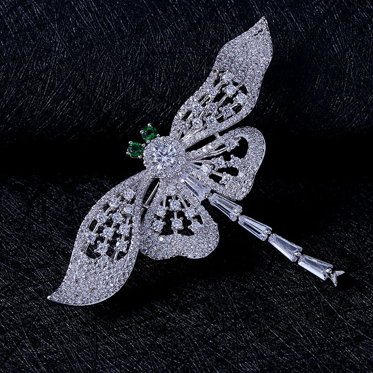 Nature Vintage Opens Green Eyes Flying Dragonfly Brooches Full Pave & - Fashion Jewelry - Photo 5