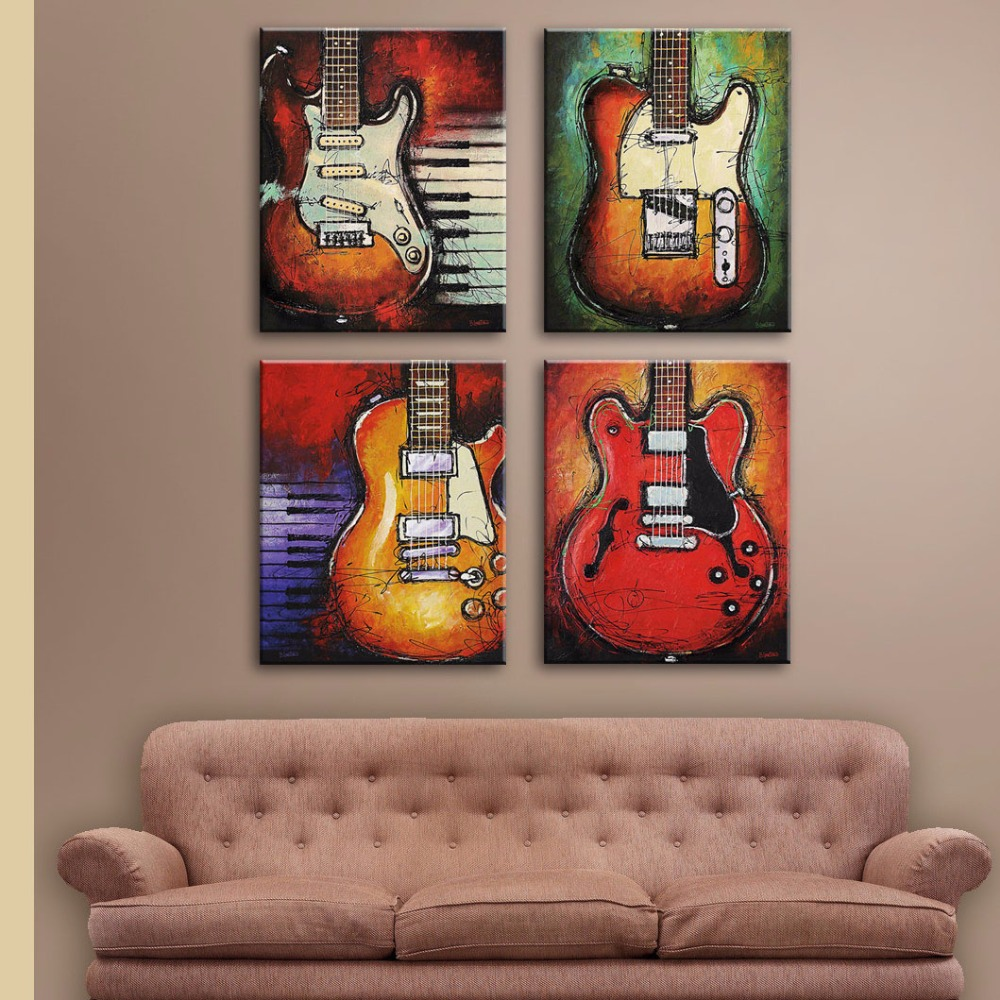 Still Life picture Print On Canvas Abstract 4 pieces Guitar Wall Pictures for Study <font><b>Bed</b></font> Room Living Room Wall Decor Framed
