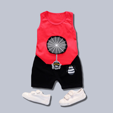 Summer New Kids Clothes Red Cartoon Spider Pattern Children Shorts Suit Boy Baby Vest + Pants