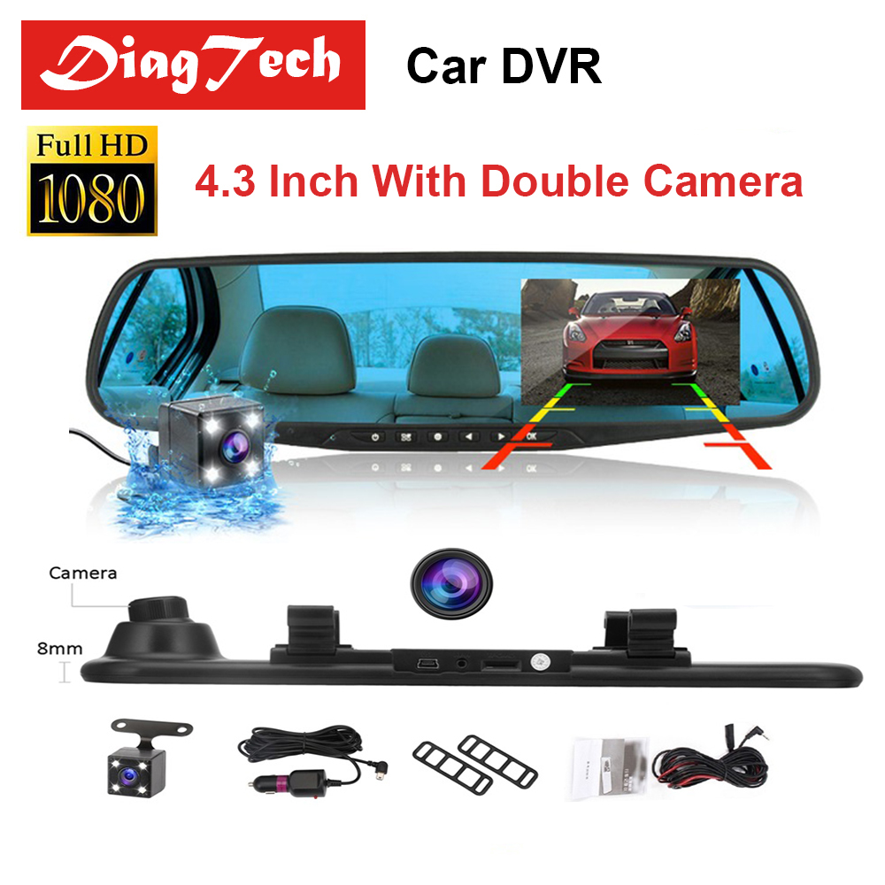 Último coche DVR Dash Cámara Dash Cam 4,3 ''DVR coche espejo doble Len HD 1080 p cámara de visión trasera retrovisor Cámara Auto grabadora de Video